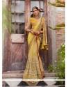Refreshing Embroidered Work Yellow Faux Chiffon Designer Saree