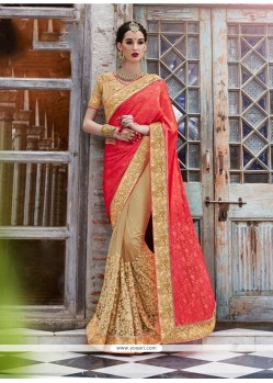 Captivating Jacquard Beige Embroidered Work Designer Saree