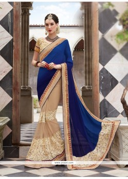 Lurid Faux Chiffon Navy Blue Embroidered Work Designer Saree
