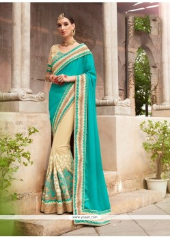 Snazzy Sea Green Embroidered Work Designer Saree