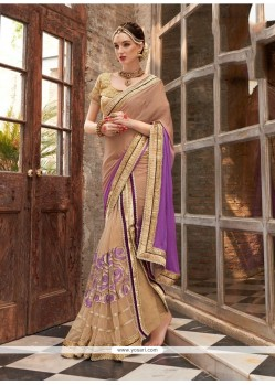 Glowing Faux Chiffon Purple Embroidered Work Designer Saree