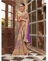 Glowing Faux Chiffon Purple Embroidered Work Designer Saree