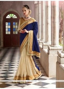 Intricate Embroidered Work Navy Blue Georgette Designer Saree