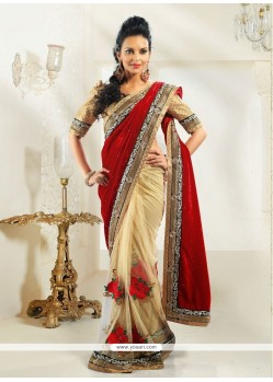 Red And Cream Net Velvet Designer Saree