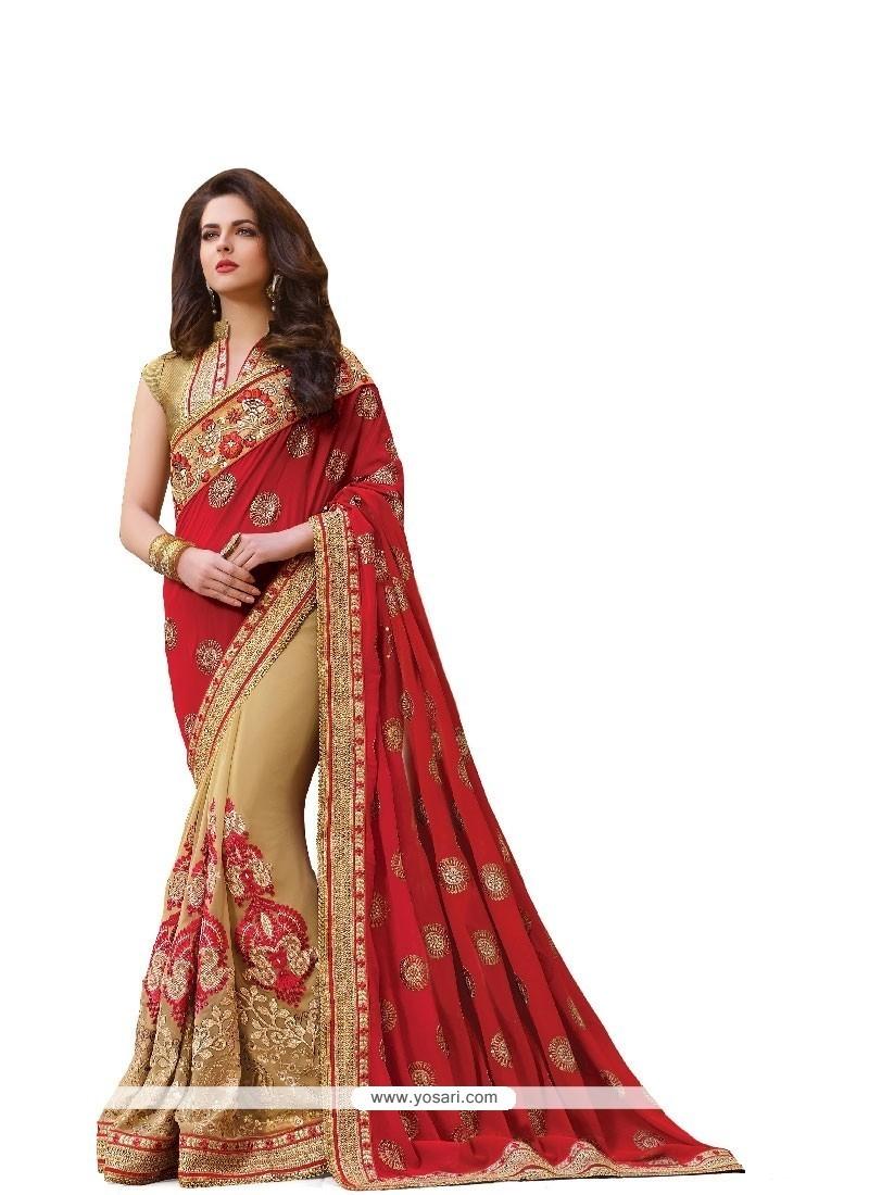 Innovative Embroidered Work Red Classic Designer Saree