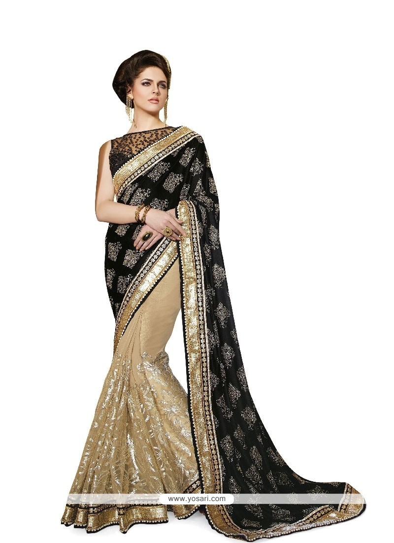 Outstanding Georgette Embroidered Work Classic Designer Saree