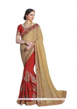 Vivid Red Classic Designer Saree