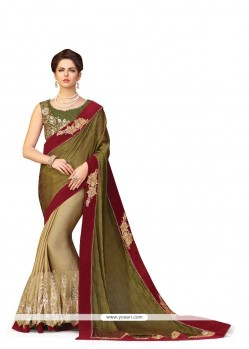 Exceptional Green Patch Border Work Georgette Classic Designer Saree