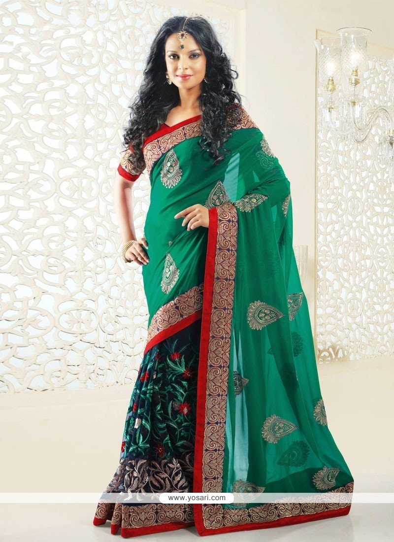 Blue And Green Shaded Net Half And Half Saree