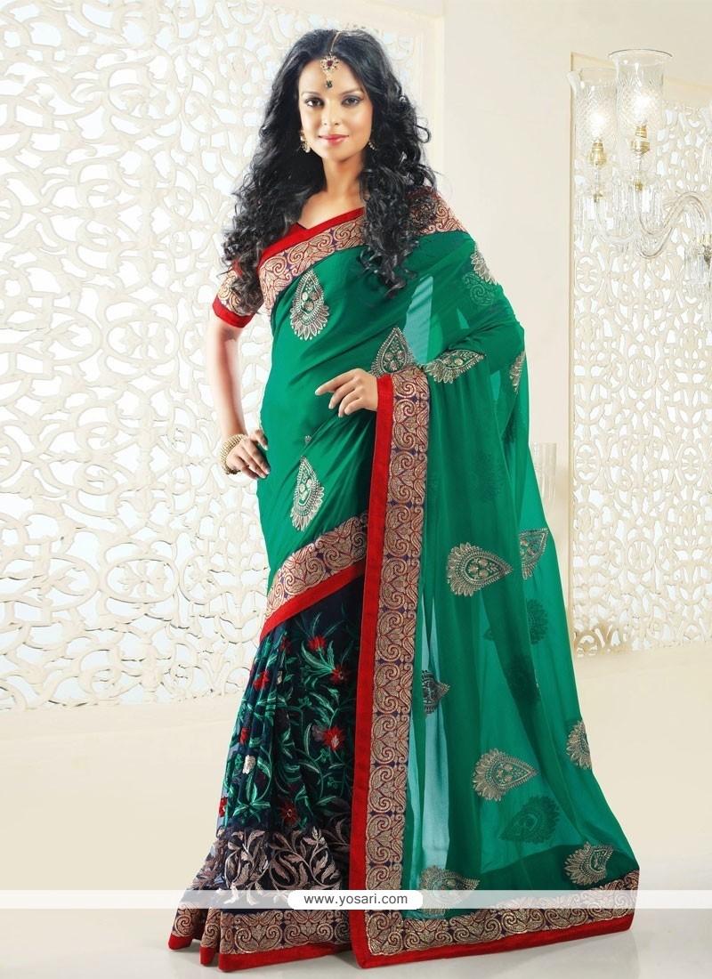 Blue And Green Shaded Net Half And Half Saree