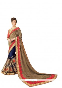 Spectacular Navy Blue Patch Border Work Georgette Classic Designer Saree