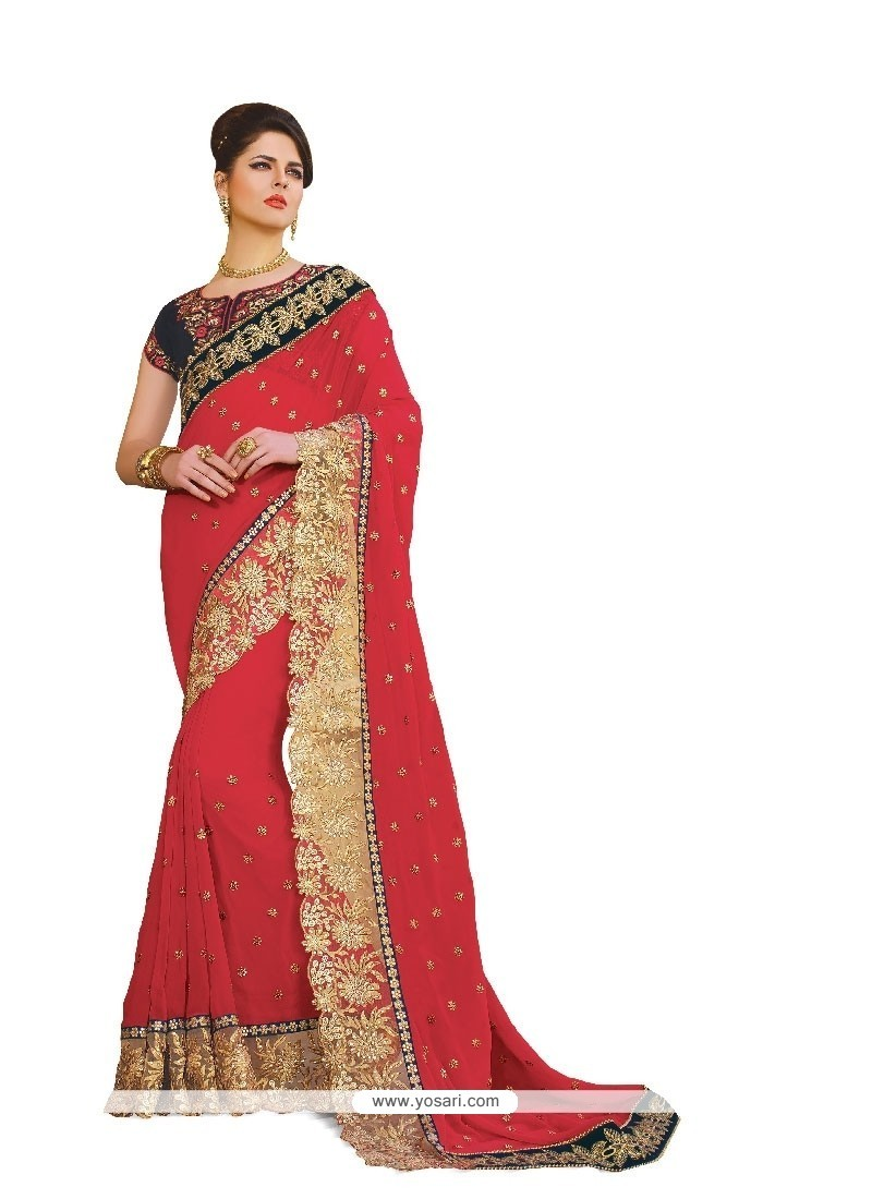 Baronial Georgette Hot Pink Embroidered Work Classic Designer Saree