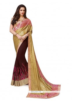 Wine Embroidered Work Georgette Classic Designer Saree