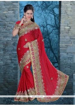 Engrossing Red Patch Border Work Chiffon Satin Classic Designer Saree