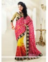 Yellow And Magenta Shaded Net Half And Half Saree