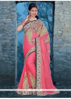 Excellent Pink Chiffon Satin Classic Designer Saree