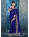 Outstanding Blue Embroidered Work Georgette Classic Designer Saree