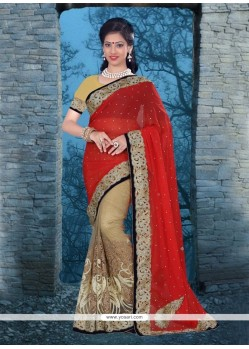 Invaluable Beige Net Classic Designer Saree