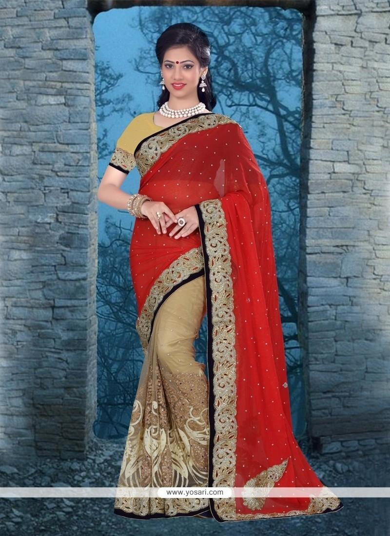 Invaluable Beige Net Classic Designer Saree