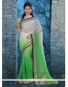 Sunshine Green And Off White Embroidered Work Georgette Classic Designer Saree
