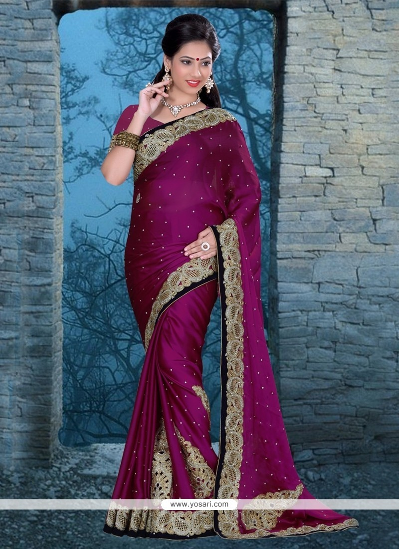 Sensational Satin Patch Border Work Classic Designer Saree