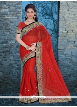 Competent Patch Border Work Red Classic Designer Saree