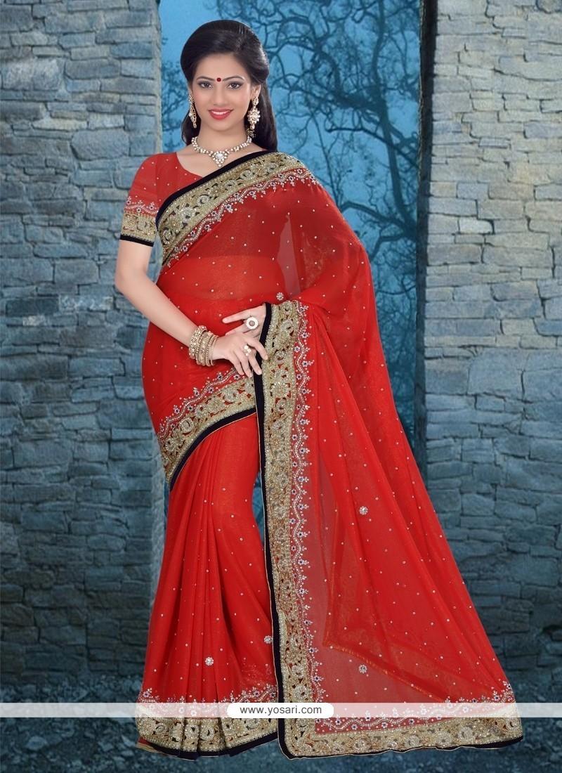 Competent Patch Border Work Red Classic Designer Saree