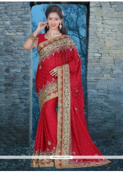 Grandiose Red Chiffon Satin Classic Designer Saree
