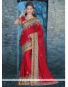Grandiose Red Chiffon Satin Classic Designer Saree