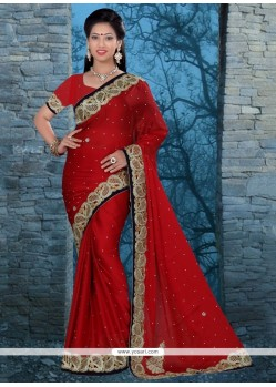 Tiptop Red Chiffon Satin Classic Designer Saree
