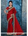Tiptop Red Chiffon Satin Classic Designer Saree