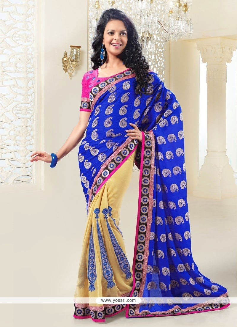 Cream And Blue Shaded Jacquard Half And Half Saree