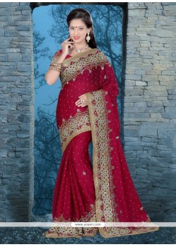 Pretty Maroon Chiffon Satin Classic Designer Saree