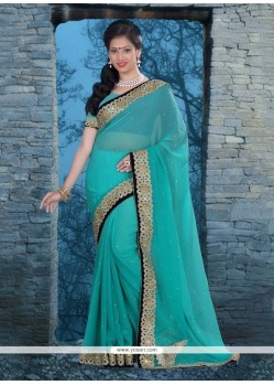 Sightly Faux Chiffon Embroidered Work Classic Designer Saree