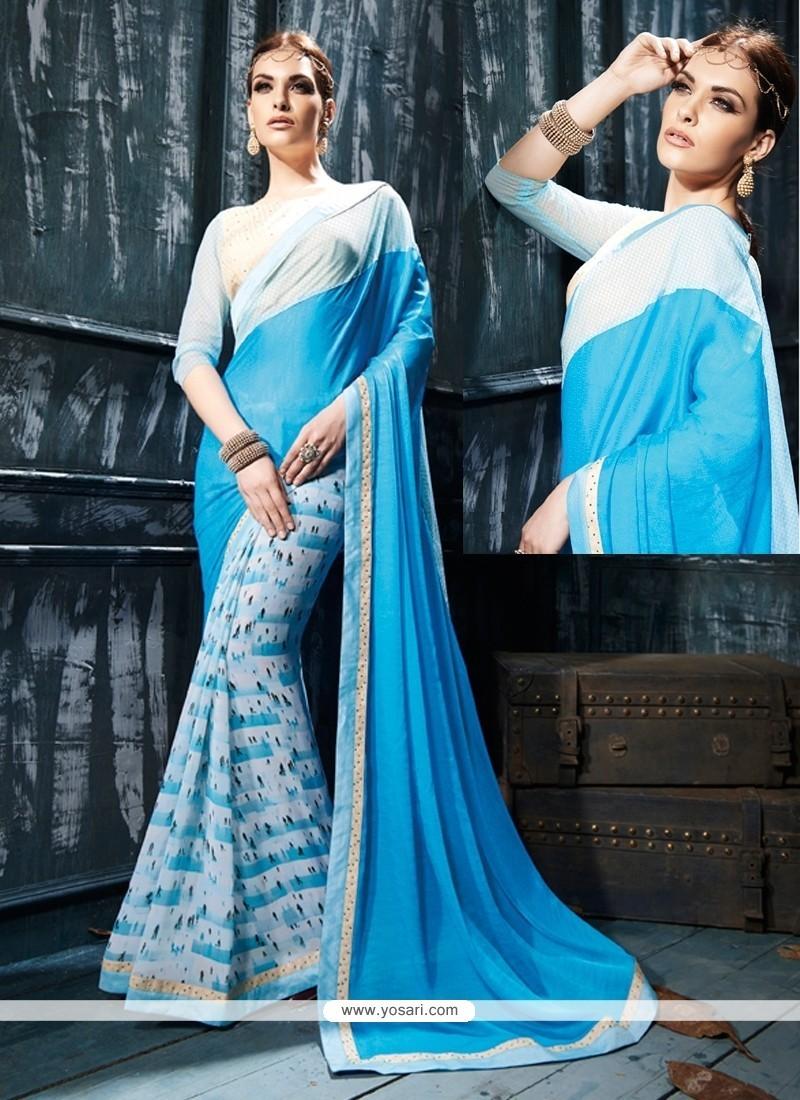 Integral Georgette Turquoise Designer Saree