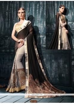 Engrossing Satin Multi Colour Print Work Designer Saree