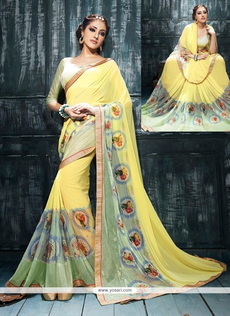 Impressive Georgette Yellow Print Work Designer Saree