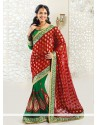 Green And Red Georgette Half And Half Saree