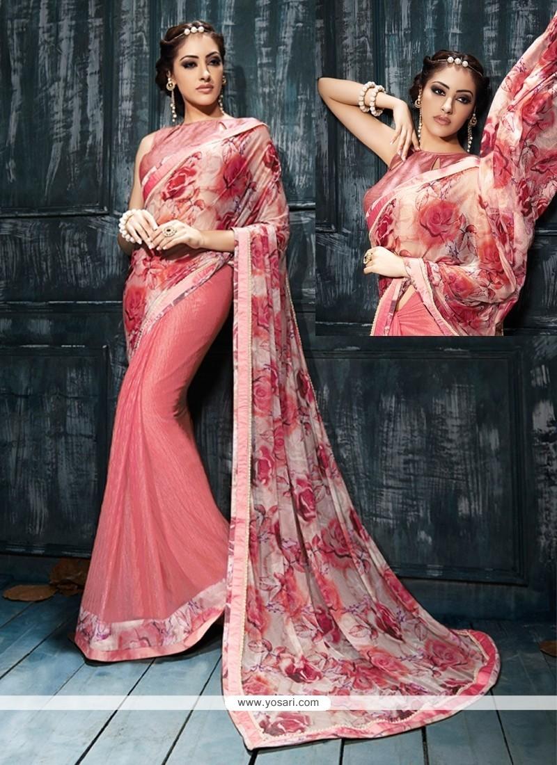 Winsome Print Work Pink Designer Saree