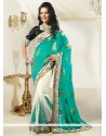 Off White And Teal Shaded Jacquard Half And Half Saree