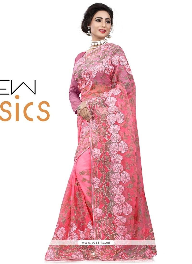 Sensational Net Pink Designer Saree