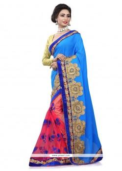 Prime Bembarg Blue Designer Half N Half Saree