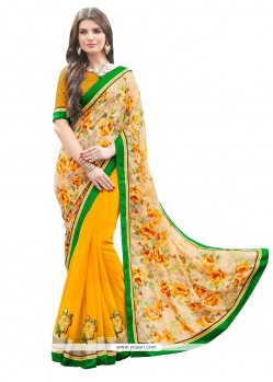 Perfervid Yellow Designer Saree