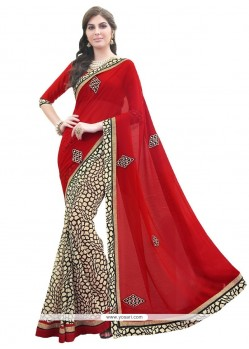 Whimsical Red Patch Border Work Designer Saree