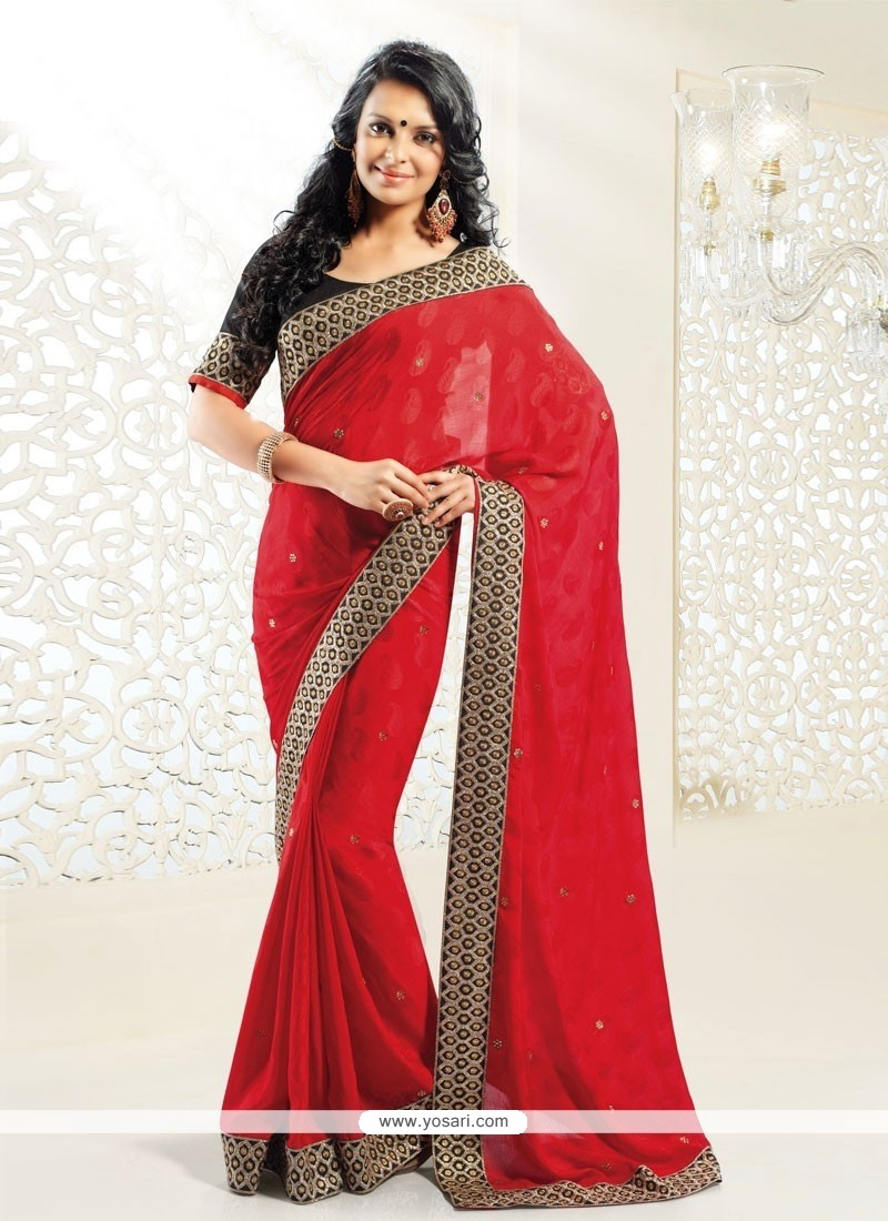 Charming Red Crystal Work Designer Saree