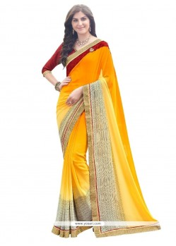 Awesome Georgette Yellow Designer Saree