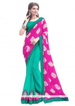 Appealing Georgette Hot Pink Designer Saree