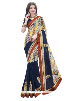 Gorgonize Patch Border Work Multi Colour Georgette Designer Saree
