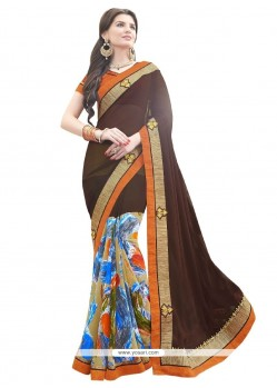 Especial Georgette Patch Border Work Designer Saree