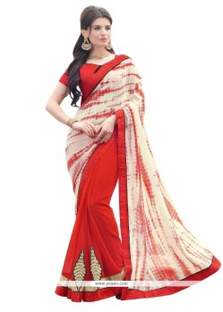 Customary Georgette Red Designer Saree